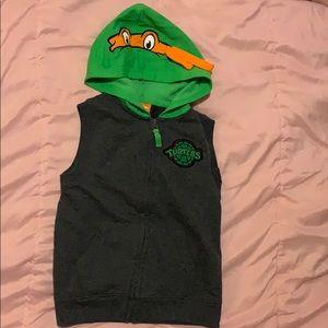 Ninja turtles MichaelAngelo vest with hoodie.